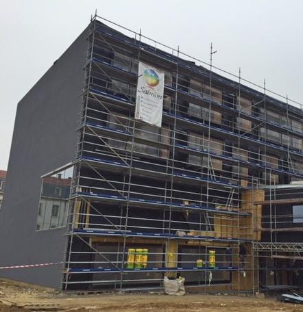 Omniloca a fourni le matériel d'échafaudge pour la construction d'un immeuble moderne à Metz