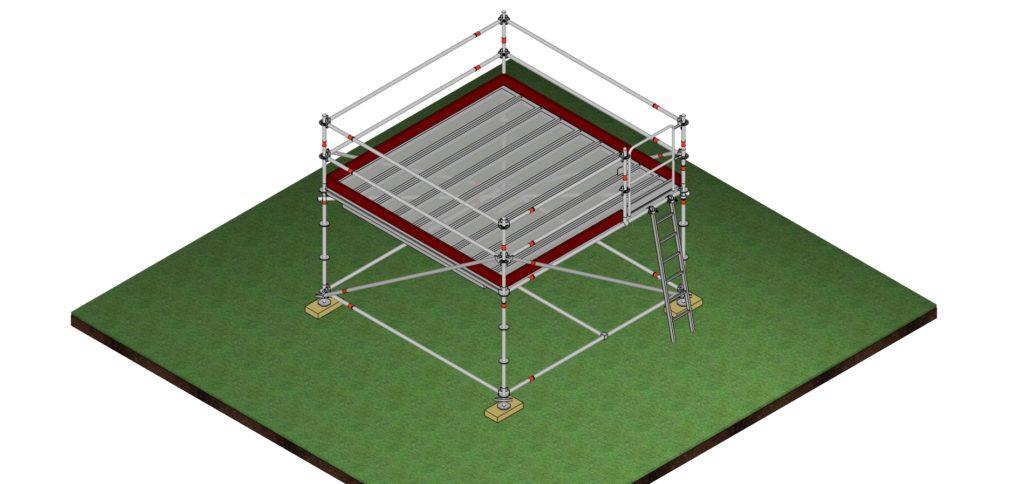 Structure éphémère surélevée pour régie, table des juges, etc.