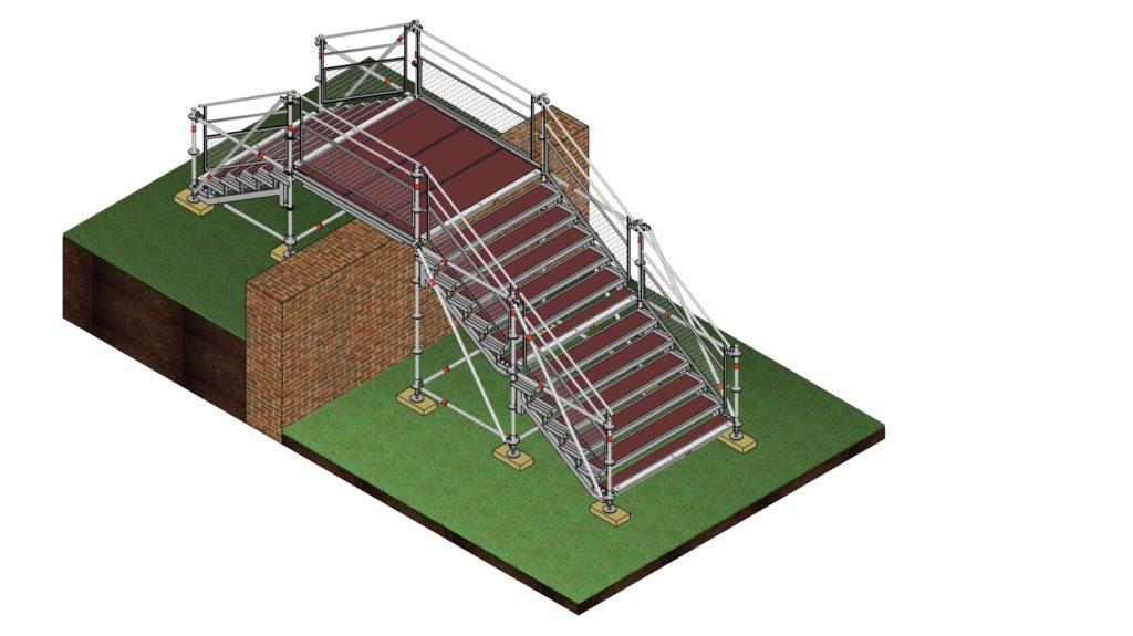 Escalier éphémère pour accès public lors d'une manifestation sportive